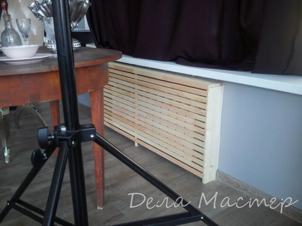 Облицовка батарей экран из деревянных реек