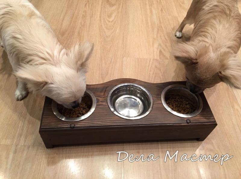 Миска подставка 3 чашки дерево для собак